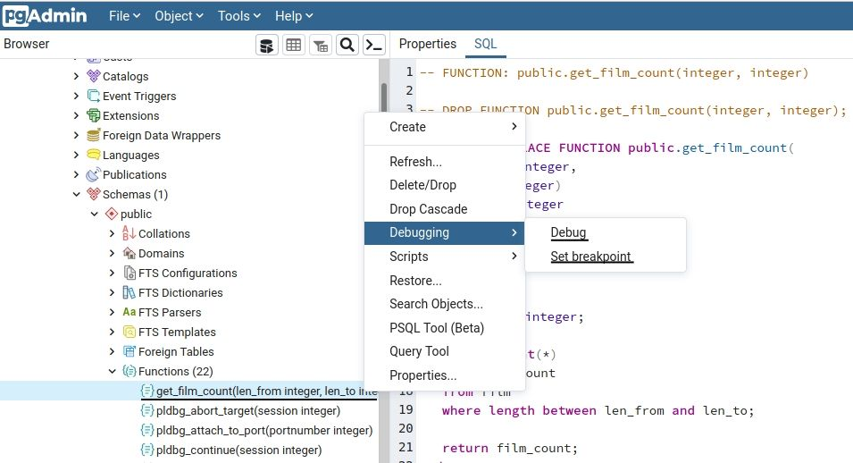 pgAdmin_debugger_menu
